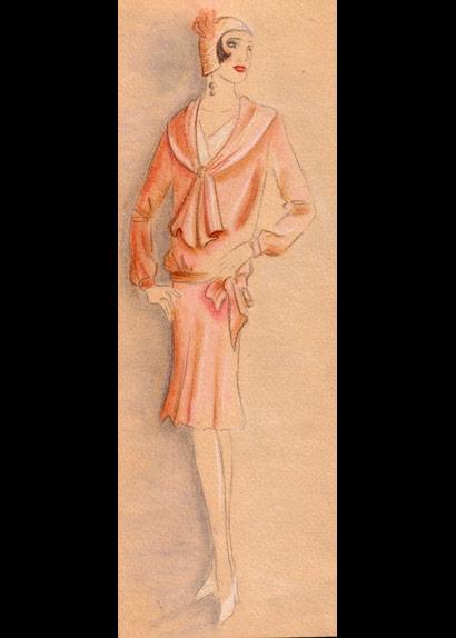 30's Lady Sketch Peach