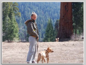 Mia with her dogs Princess & Sass, Sequoia, CA